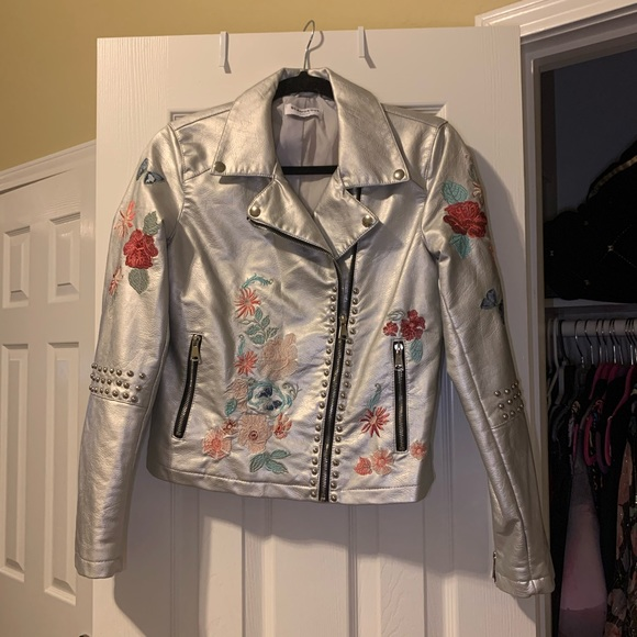 Jackets & Blazers - Embroidered Faux Leather Metallic Jacket